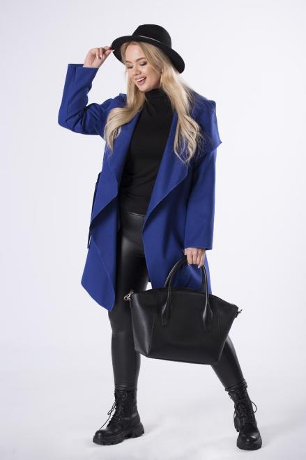 ZOJA  szlafrokowy płaszcz z wiązaniem M70362 Плащ +Size Голубой оптом