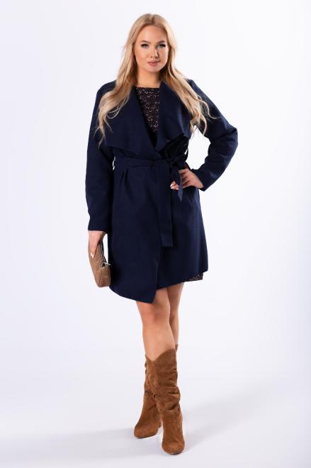 ZOJA  szlafrokowy płaszcz z wiązaniem M70368 Плащ +Size Темносиний оптом