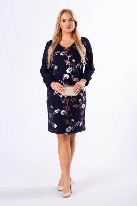 MODUSS  taliowana sukienka z tiulowymi rękawami M82857 Платья +Size Темносиний оптом