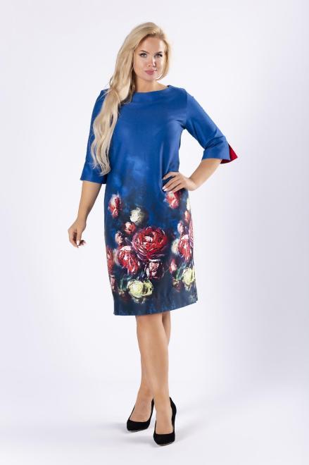 WESLEY  dzianinowa sukienka w kwiaty z falbanami przy mankietach M81397 Платья +Size Голубой оптом