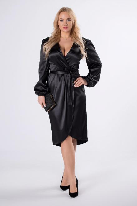 KOKORO  atłasowa sukienka o kopertowym kroju z wiązaniem w pasie M75994 Платья +Size Черный оптом