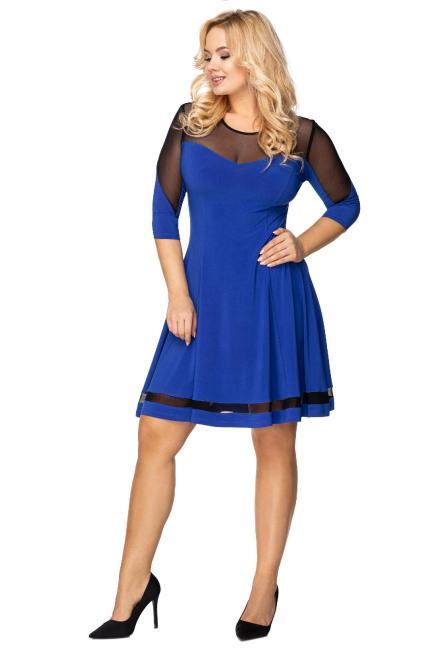 IZEE  rozkloszowana sukienka z siateczkową wstawką na rękawach, dekolcie oraz na plecach M75867 Платья +Size Голубой оптом