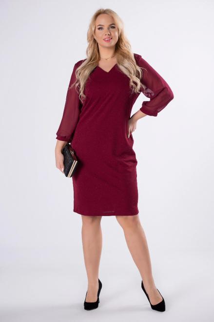 MADAM TRIS  połyskująca sukienka z tiulowymi rękawami M62512 Платья +Size Бордовый оптом