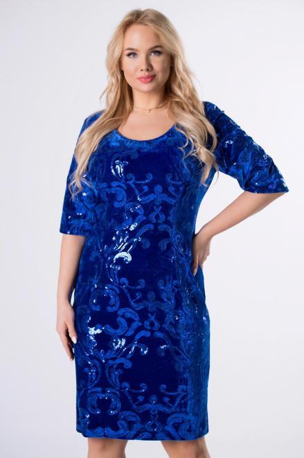 MODUSS  welurowa sukienka z cekinami M82647 Платья +Size Голубой оптом