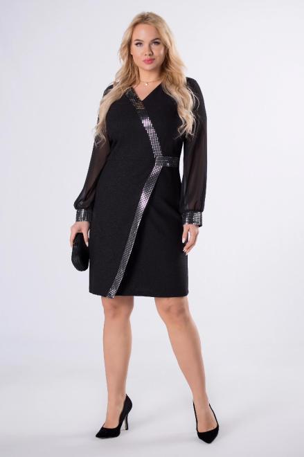 MODUSS  dopasowana sukienka z tiulowymi rękawami i błyszczącymi przeszyciami M82648 Платья +Size Черный оптом