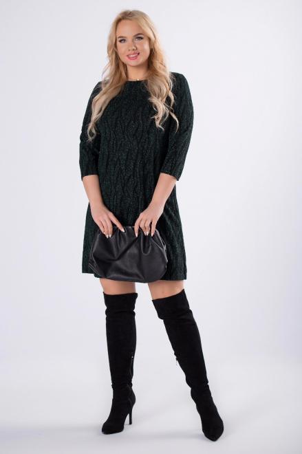 WOX  połyskująca sukienka z rękawem 3/4 M61020 Платья +Size Зеленый оптом