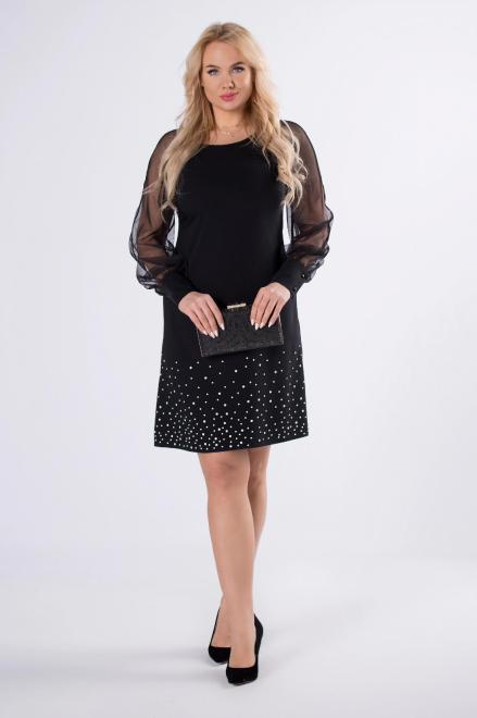 TRYNITE  taliowana sukienka z tiulowymi rękawami i kropkami na dole M82979 Платья +Size Черный оптом