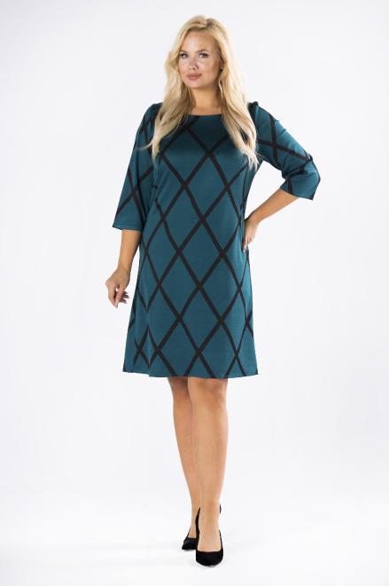 MARTEX  trapezowa sukienka z brokatowymi przeszyciami i rękawem 3/4 M81121 Платья +Size Зеленый оптом