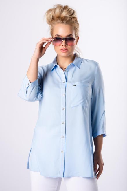 SANDRA  klasyczna koszula z rozcięciami na bokach  M83117 Блузки +Size Голубой оптом