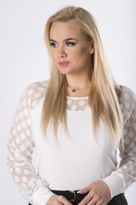WAXIMA  bluzka z siateczką na rękawach  M83190 Блузки +Size Кремовый оптом