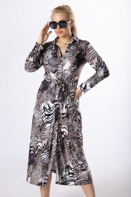 BOG-MAR  wzorzysta sukienka z paskiem  M83147 Платья +Size Multikolor оптом