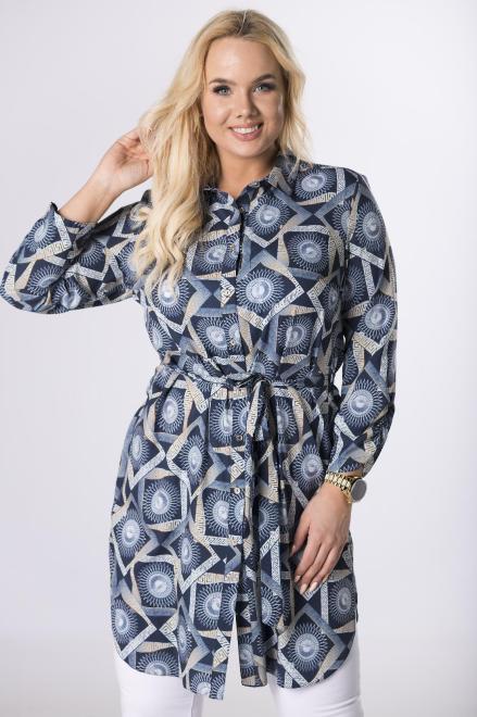 SANDRA  długa koszula z paskiem  M83166 Блузки +Size Multikolor оптом