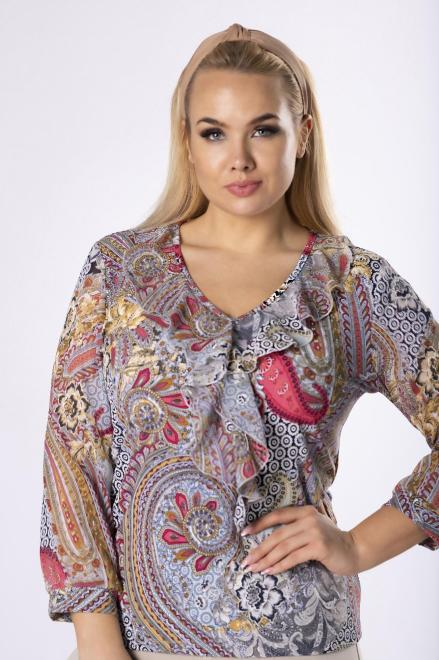 MARPO  wzorzysta bluzka z szyfonowymi rękawami  M83158 Блузки +Size Розовый оптом