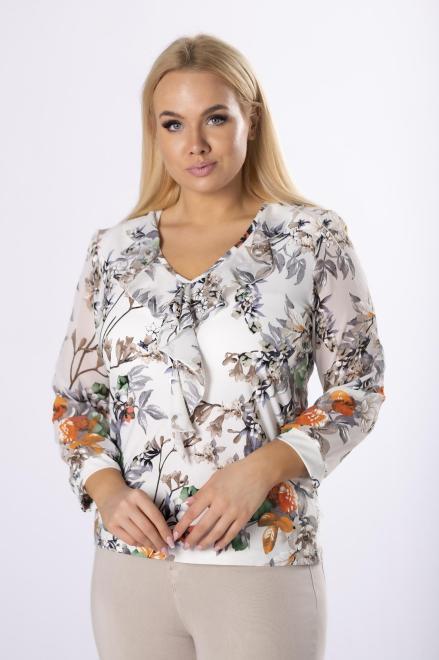 MARPO  wzorzysta bluzka z szyfonowymi rękawami  M83158 Блузки +Size Кремовый оптом