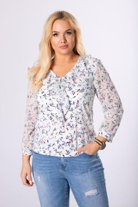 MARPO  wzorzysta bluzka z szyfonowymi rękawami  M83158 Блузки +Size Белый оптом