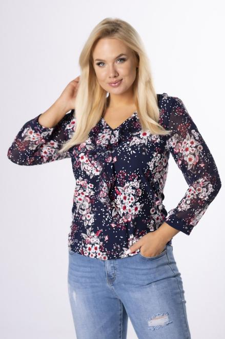 MARPO  wzorzysta bluzka z szyfonowymi rękawami  M83158 Блузки +Size Темносиний оптом