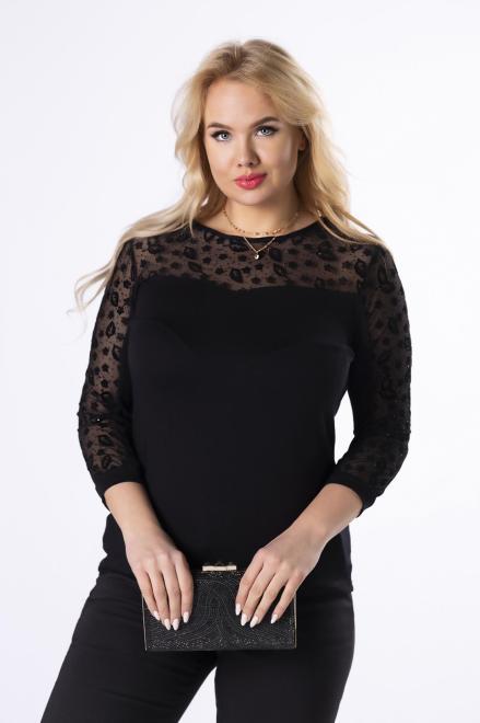 HALINA  dopasowana bluzka z siateczką przy dekolcie i rękawach  M82193 Блузки +Size Черный оптом