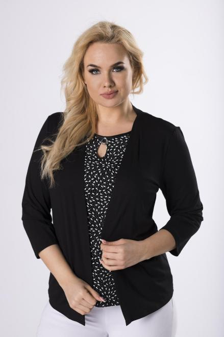 HALINA  bluzka z imitacją narzutki  M82006 Блузки +Size Черный оптом