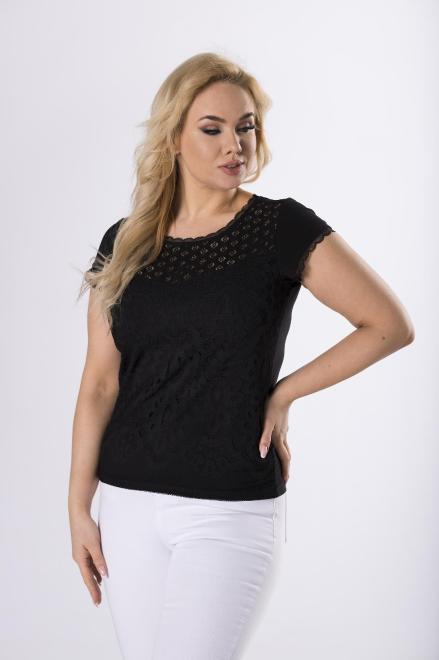 WAXIMA  koronkowa bluzka z krótkim rękawem M83189 Блузки +Size Черный оптом