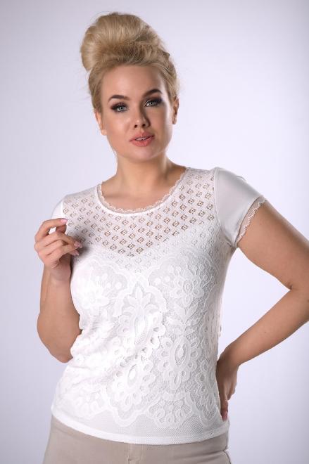 WAXIMA  koronkowa bluzka z krótkim rękawem M83189 Блузки +Size Кремовый оптом