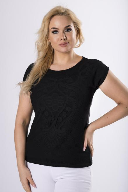 WAXIMA  bluzka z koronkowym wykończeniem M83188 Блузки +Size Черный оптом