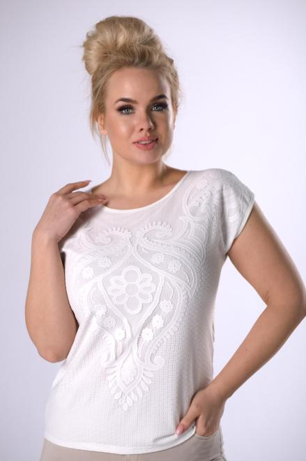 WAXIMA  bluzka z koronkowym wykończeniem M83188 Блузки +Size Кремовый оптом