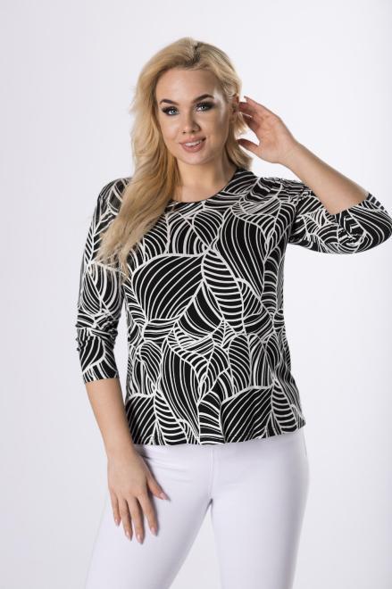 AGA  wzorzysta bluzka z rękawem 3/4 M83140 Блузки +Size Черный оптом