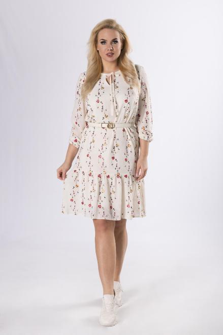 INTER - IREX RENATA  trapezowa sukienka z haftowanymi aplikacjami  M83202 Платья +Size Бежевый оптом