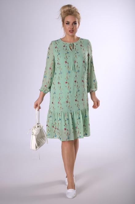 INTER - IREX RENATA  trapezowa sukienka z haftowanymi aplikacjami  M83202 Платья +Size Зеленый оптом