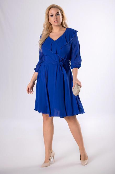 MODUSS  rozkloszowana sukienka z z falbaną M81866 Платья +Size Голубой оптом