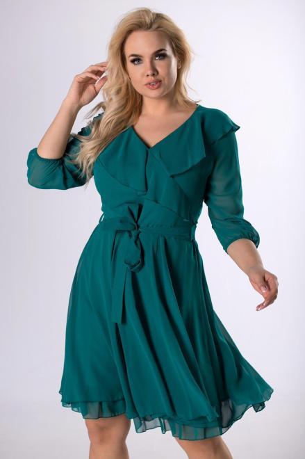 MODUSS  rozkloszowana sukienka z z falbaną M81866 Платья +Size Зеленый оптом