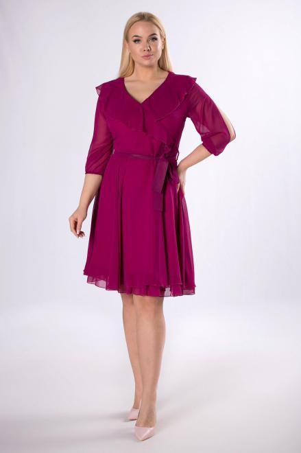 MODUSS  rozkloszowana sukienka z z falbaną M81866 Платья +Size Розовый оптом