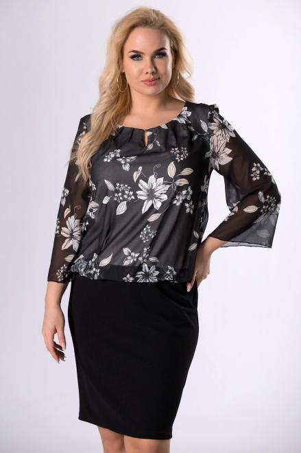 TRYNITE  ołówkowa sukienka z szyfonową górą  M83247 Платья +Size Черный оптом