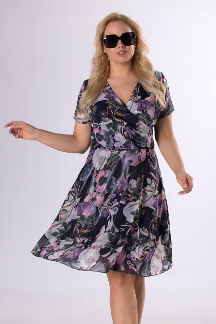MODUSS  szyfonowa sukienka z brokatowym wykończeniem  M83097 Платья +Size Темносиний оптом