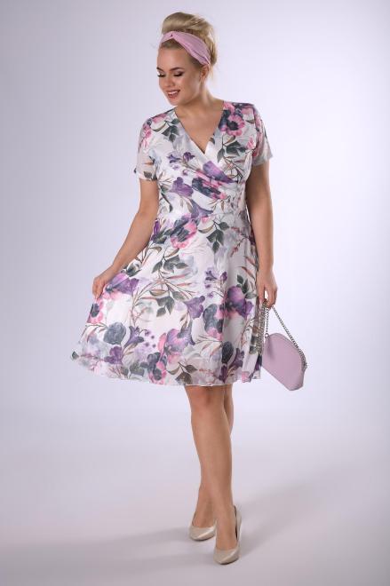 MODUSS  szyfonowa sukienka z brokatowym wykończeniem  M83097 Платья +Size Белый оптом