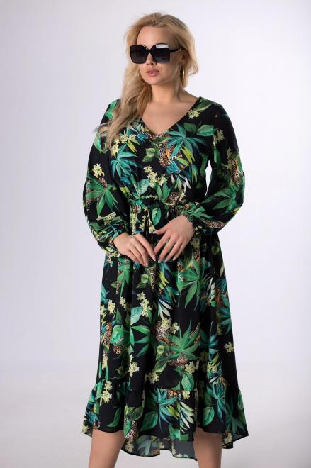 MARTEX  wzorzysta sukienka z dekoltem V M83094 Платья +Size Multikolor оптом
