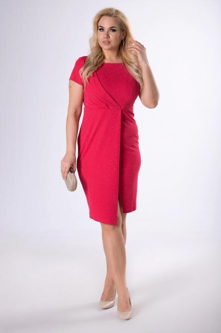KAJA  dopasowana sukienka z kopertową zakładką M81334 Платья +Size Красный оптом