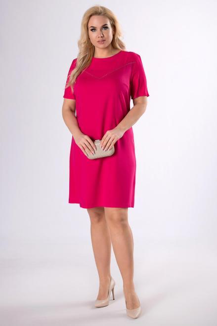 MODUSS  pudełkowa sukienka z dżetami przy dekolcie  M83096 Платья +Size Розовый оптом