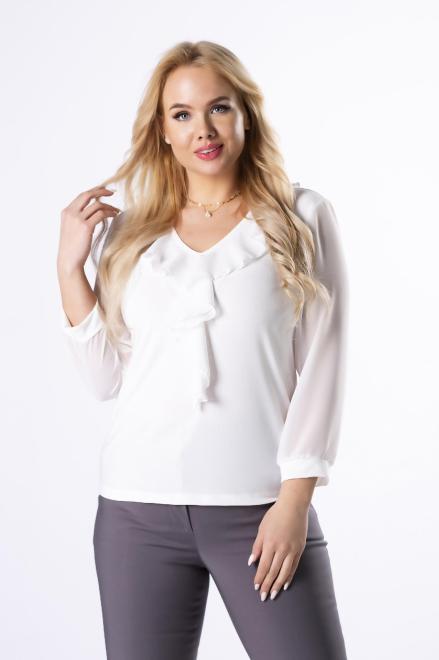 MARPO  bluzka z szyfonowymi rękawami M59799 Блузки +Size Кремовый оптом