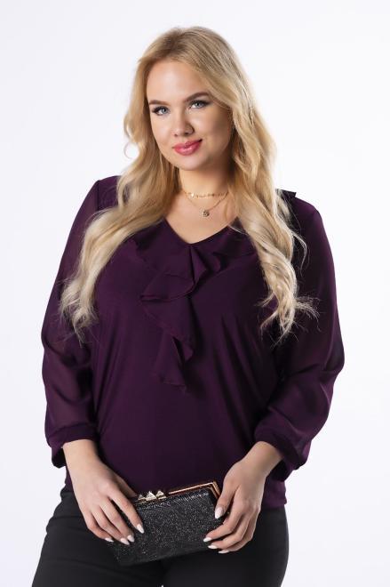 MARPO  bluzka z szyfonowymi rękawami M59799 Блузки +Size Фиолетовый оптом