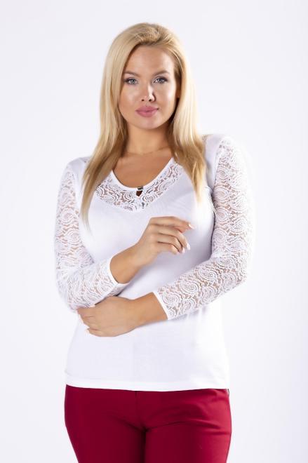 MARPO  bluzka z koronkowym wykończeniem M78025 Блузки +Size Белый оптом