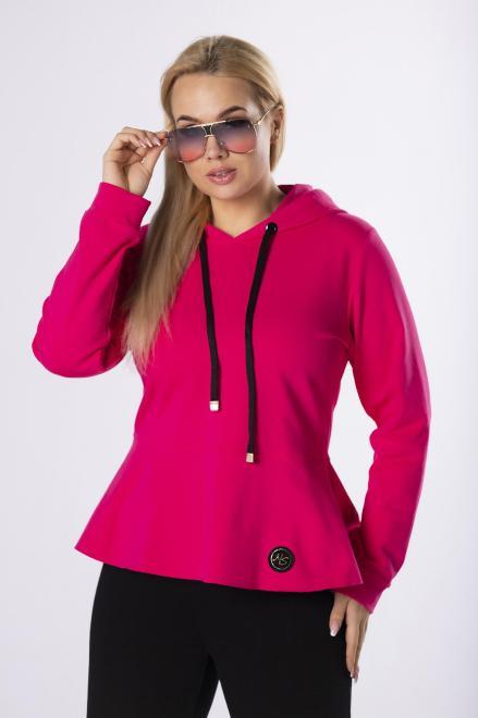 DOMINO STYL  dresowa bluza z wydłużonym tyłem  M83354 Трикотажные брюки Розовый оптом