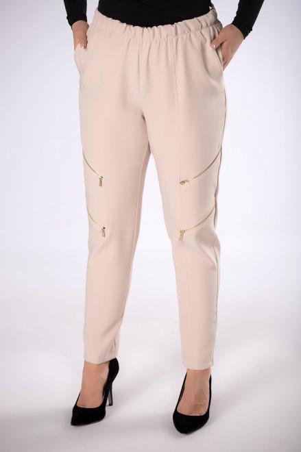 IZEE  spodnie z suwakami M82639 Брюки +Size Бежевый оптом