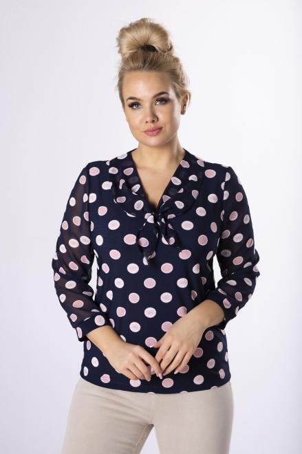 MARPO  wzorzysta bluzka z wiązaniem przy dekolcie M72249 Блузки +Size Темносиний оптом