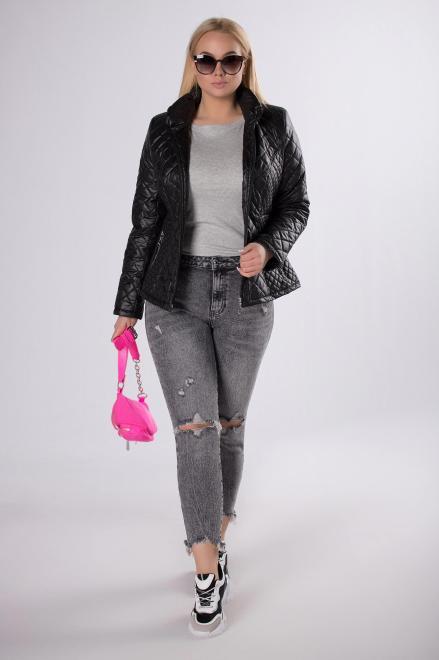 HOLI  casualowa kurtka z pikowaniem  M83322 Куртка +Size Черный оптом