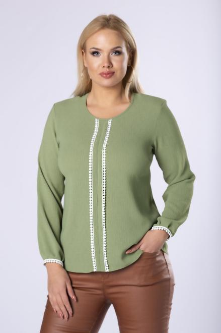 OPAL  bluzka z koronkowym lampasem z przodu M82017 Блузки +Size Зеленый оптом