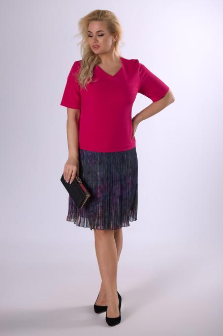 MODUSS  sukienka z plisowanym dołem  M83099 Платья +Size Розовый оптом