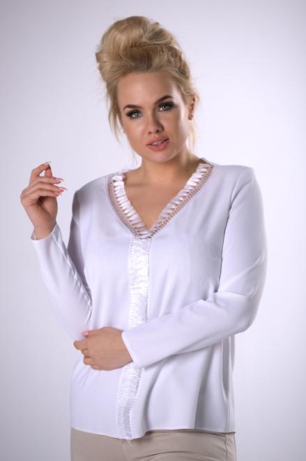 OPAL  bluzka z ozdobnymi chwostami  M83251 Блузки +Size Белый оптом