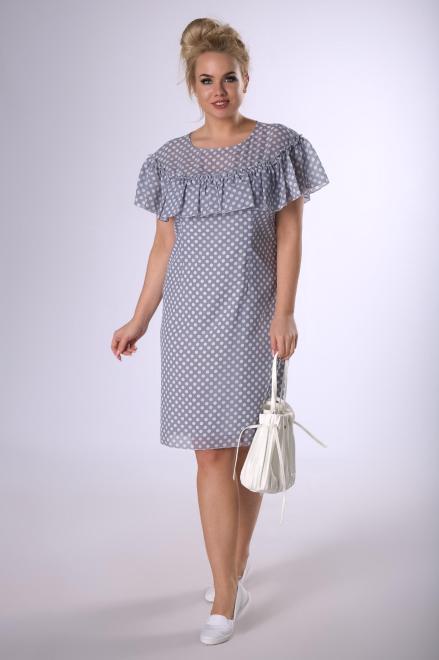 MODUSS  szyfonowa sukienka z falbaną M83101 Платья +Size Серый оптом