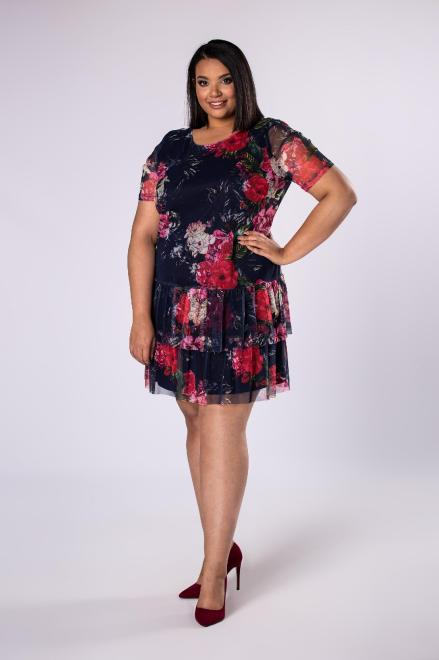 INTER - IREX RENATA  tiulowa sukienka z falbankami M78276 Платья +Size Темносиний оптом